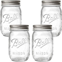 Ball Regular Mouth Mason Jars with Lids and Bands, 16-Ounces (8-Jars)