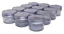 NMS-04-SV 4 Ounce Regular Mouth Mason Canning Jars - with Silver Metal Safety Button Lids - Case of 12