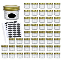 4oz Glass Jars With Regular Lids,Mini Wide Mouth Mason Jars,Clear Small Canning Jars With Gold Lids,Canning Jars For Honey,Herbs,Jam,Jelly,Baby Foods,Wedding Favor,Shower Favors 40 Pack … …