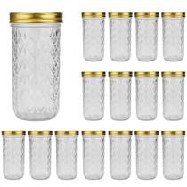 16 oz Glass Jars With Lids,Wide Mouth Ball Mason Jars For Storage,Canning Jars For Pickles,Herb,Jelly,Jams,Honey,Kitchen Food Storage Jars Dishware Safe,Set Of 16 …