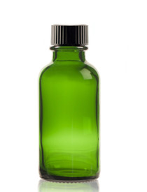 1 oz Green Boston Round Glass Bottle w/ Black Poly Seal Cone Cap