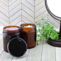 8oz / 9oz Amber Glass Jars (6-Pack); Straight Sided Cosmetic Jars, Great for Body Butter, Creams, Stash Jars, Etc.