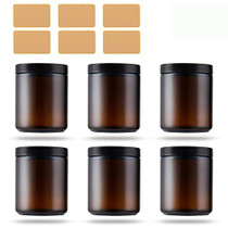 8oz Amber Glass Apothecary Jars 6 Pack,Round Mason Canning Jars with Black Plastic Lids for Food Storage,Canning,Arts & Crafts,Creams,Butter,Candle Making,Powders & Ointments,6 Yellow Labels Included