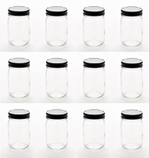 12 Ounce Glass Regular Mouth Mason Canning Jars - With Black Safety Button Lids - Case of 12
