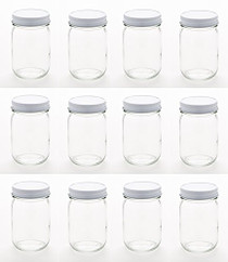 12 Ounce Glass Regular Mouth Mason Canning Jars - With White Safety Button Lids - Case of 12