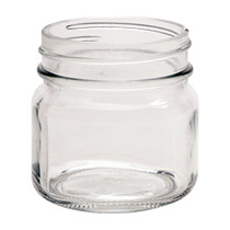8 Ounce Glass Smooth Square Regular Mouth Mason Canning Jars - With Black Plastic Lids - Case of 12