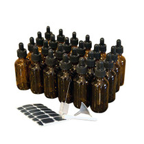24 pack Amber 2 Oz Dropper Glass Bottles   The Amber Glass Bottles Includes a Dropper & Funnel and Brush with Bonus Labels to Mark Each One