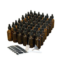 48 pack Amber 2 Oz Dropper Glass Bottles   The Amber Glass Bottles Includes a Dropper & Funnel and Brush with Bonus Labels to Mark Each One