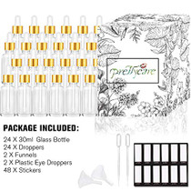 Eye Dropper Bottle 1 oz (24 Pack Clear Glass Bottles 30ml with Golden Caps, 2 Extra Measured Pipettes, 48 Labels, 2 Funnels ) Empty Tincture Bottles for Essential Oils, Perfume