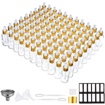 Eye Dropper Bottle 1 oz ( 99 Pack Clear Glass Bottles 30ml with Golden Caps, Extra Plastic Measured Pipettes, Labels, Funnel) Empty Tincture Bottles for Essential Oils