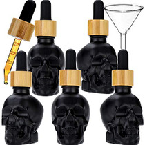 5PCS 1oz Skull e-Liquid Bottle with Strong Suction Nozzle and Dropper with Measure Scale Perfume Bottle Glass Perfume Bottle (30ml x 5pcs)
