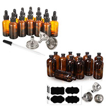 12, 1 oz Dropper Bottles with 3 Stainless Steel Funnels & 1 Long Glass Dropper & [ 12 Pack, 16 oz ] Glass Amber Bottles with Black Poly Cone Cap & 3 Stainless Steel Funnels & 12 Labels