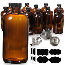 [ 12 Pack, 16 oz ] Glass Amber Bottles with Black Poly Cone Cap & 3 Stainless Steel Funnels & 12 Labels - 480ml Boston Round Sample Bottles, Brown Glass Apothecary Bottles