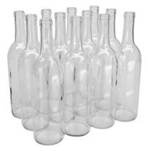 NMS W5 Flint 750ml Glass Bordeaux Wine Bottle Flat-Bottomed Cork Finish - Case of 12 - Clear/Flint