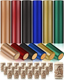 240 Pieces Wine Bottle Corks and Heat Shrink Capsules, 120 Pieces 6 Color Seals and 120 Pieces Natural Straight Corks, Wine Stoppers for Wine Bottles, Ornament Making, Arts and Crafts Making Projects