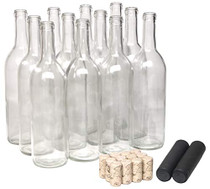 750ml Glass Bordeaux Wine Bottle Flat-Bottomed Cork Finish - with #8 Premium Natural Corks & PVC Shrink Capsules - Case of 12