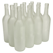 FastRack-750ml Glass Bordeaux Wine Bottle Flat-Bottomed Cork Finish - Case of 12 - Frosted