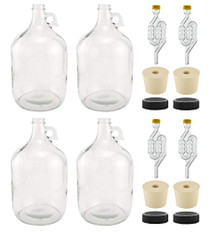 1 Gallon Glass Fermenting Jug with Handle, 6.5 Rubber Stopper, Twin Bubble Airlock, Black Plastic Lid (Set of 4)
