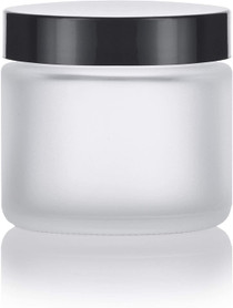 Frosted Clear Glass Straight Sided Jars with Black Lids- 2 oz (6 Pack)