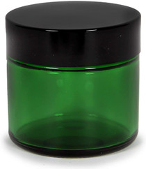 12, Green, 2 oz, Round Glass Straight Sided Jars, with Inner Liners and black Lids