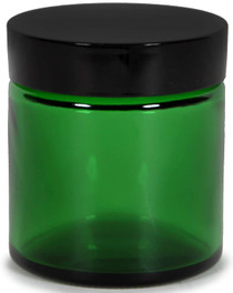 12 Pack, Green, 4 oz, Round Glass Straight Sided Jars, with Inner Liners and black Lids