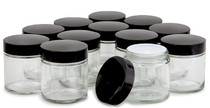 12, Clear, 4 oz, Round Glass Jars, with Inner Liners and black Lids