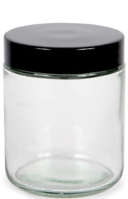 Clear, 8 ounce, Round Glass Jars, with Black Lids - 8 pack