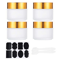 4 Pack 3.4oz Thick Frosted Glass Straight Sided Jar with White Inner Liner and Gold Lids (2 Spatulas, 1 Label) for Face Cream Scrubs