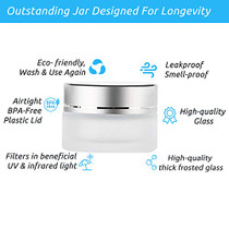 UV Protection Small Glass Jars With Lids Reusable 5ml 10ml 20ml Black Food Glass Bottle Mini Airtight Container For Herb Oil Salve Cream leaf Storage 1 Wax Carving Tools (10ML, Frosted)