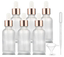 6 Pack,Frosted Glass Essential Oil Dropper Bottle,Empty Glass Liquid Container Holder With Glass Eye Dropper,Rose-Golden Caps Travel Perfume Cosmetic Container-Pipette&Funnel included (30ml/1 Ounce)