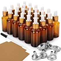 24 Pcs, 1 oz Dropper Bottles (30ml) with 6 Funnels & 1 Long Dropper - Amber Glass Bottles for Essential Oils with Eye Droppers - Tincture Bottles, Leak Proof Travel Bottles for Liquids, Golden Cap