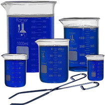 Glass Low Form Beaker Set with Zinc Plated Beaker Tongs, 5 Sizes - 50, 100, 250, 500, and 1L, 3.3 Borosilicate Glass, Karter Scientific 213A8