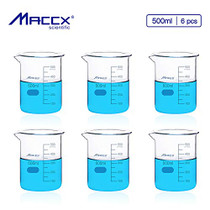 Maccx 17oz(500ml) Sturdy Glass Beaker, 3.3 Borosilicate Griffin Low Form with Printed Graduation, Pack of 6, BKL500-006