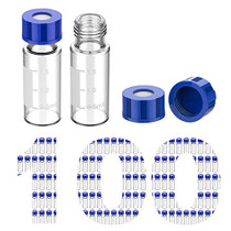 100 Pcs Membrane Solutions Autosampler Vials, 2mL HPLC Sample Vials, 9-425 Vial Clear Glass Bottles with Write-on Spot, Graduations, 9mm Blue ABS Screw Caps & Septa for GC Sample vials