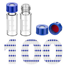 100 Pcs Membrane Solutions 2ml HPLC Vials, Autosampler Vials, 9-425 Sample Vials with Write-on Spot, Graduations, 9mm Blue ABS Screw Caps & Septa for GC Sample vials