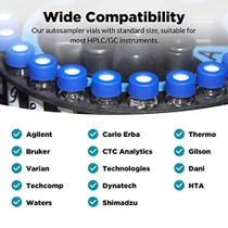 100 Pcs Membrane Solutions 2ml HPLC Vials, Autosampler Vials, 9-425 Sample Vials with Write-on Spot, Graduations, 9mm Blue ABS Screw Caps & Septa for GC Sample vials