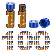 100 Pcs Membrane Solutions 2ml HPLC Sample Vials, Autosampler Vials, 9-425 Amber Vials with Write-on Spot, Graduations, 9mm Blue ABS Screw Caps & Septa for GC Sample vials