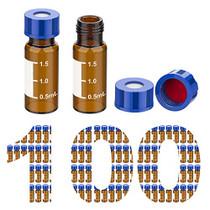 100 Pcs Membrane Solutions Autosampler Vials, 2mL HPLC Sample Vials, 9-425 Vial Amber Glass Bottles with Write-on Spot, Graduations, 9mm Blue ABS Screw Caps & Septa for GC Sample vials