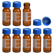 Filter 2ml Autosampler Vials with Writing Area and Graduations, 9-425 HPLC, Screw Cap, Blue PTFE & White Silicone Pre-Slit Septa, 100 Pcs