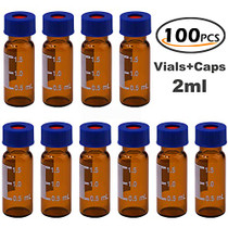 Filter 2ml Autosampler Vials with Writing Area and Graduations, 9-425 HPLC, Screw Cap, White PTFE & Red Silicone Septa, 100 Pcs