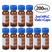 Autosampler Vial 2ml with Caps, HPLC Vial,9-425 Amber Vial with Blue Screw Caps,Writing Patch,Graduation,White PTFE & Red Silicone Septa Fit for LC Sampler(200 pcs,Brown)