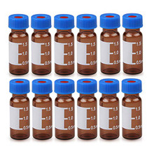 Autosampler Vials 2ml with Caps, HPLC Vial,9-425 Clear Vial with Blue Screw Caps,Writing Patch,Graduation,White PTFE & Red Silicone Septa Fit for GC Sample Vial (500PCS, Brown)