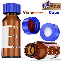 Autosampler Vials 2ml HPLC Vials 9-425 Amber Vials Lab Vials with Write-on Spot and Graduations,9mm Blue ABS Screw Sealed Cap with Red PTFE