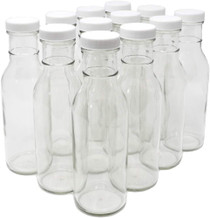 12 oz Round Sauce Bottle with White Metal Cap - pack of 12