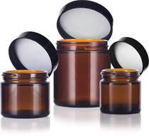 4 oz Amber GLASS Jar Straight Sided w/ Black Plastic Lined Cap
