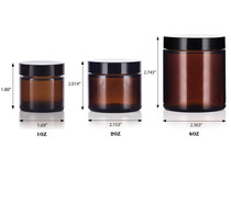 4 oz Amber GLASS Jar Straight Sided w/ Black Plastic Lined Cap - pack of 6