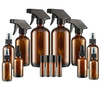 Glass Spray Bottle,  Amber Glass Spray Bottles Set Roller Bottles, Cleaning Products or Aromatherapy (16OZ, 8OZ, 4OZ, 2OZ, 2OZ Dropper Bottle) x 2, 10 ml Roller Bottle x 4