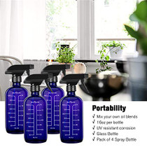 Glass Spray Bottle 16 oz (4 Pack Blue Bottles, 8 Labels, 1 Funnel by PrettyCare) Fine Mist Sprayers Dispenser for Essential Oils, Aromatherapy and Natural Cleaning Products