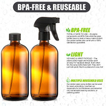 Empty Amber Glass Spray Bottles - (2 Pack) 16 oz with Labels Refillable Container for Essential Oils, Cleaning Solutions, Cleaning Products, Hair, Plant Mister, Daily Shower, Gardening or Aromatherapy