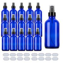 Blue Glass Spray Bottles 4oz ULG Fine Mist Sprayers Empty Spray Atomizer for Essential Oils Aromatherapy Cosmetic Sprays Including Waterproof DIY Labels 16 Piece
